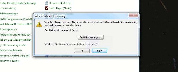 Outlook 2016 - Zertifikat-Problem (Zielprinzipalname falsch ...