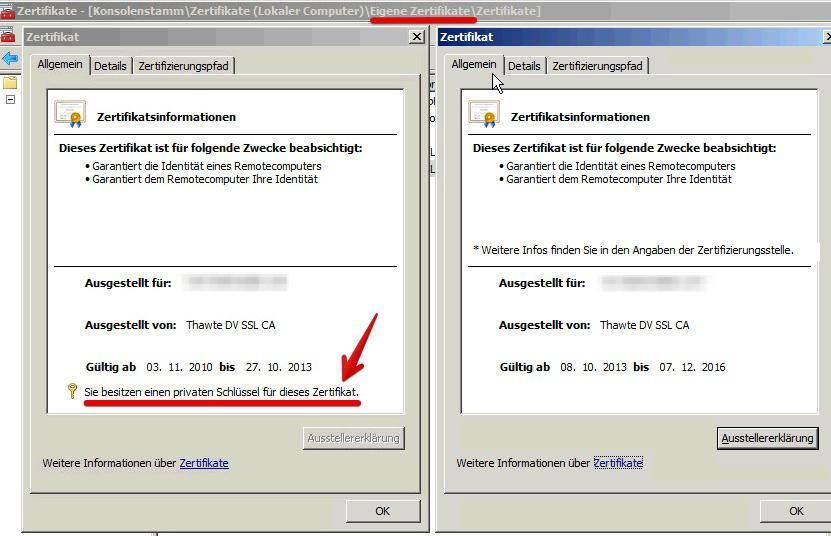 MSX / Forefront TMG - Der private Schlüssel ist nicht installiert ...