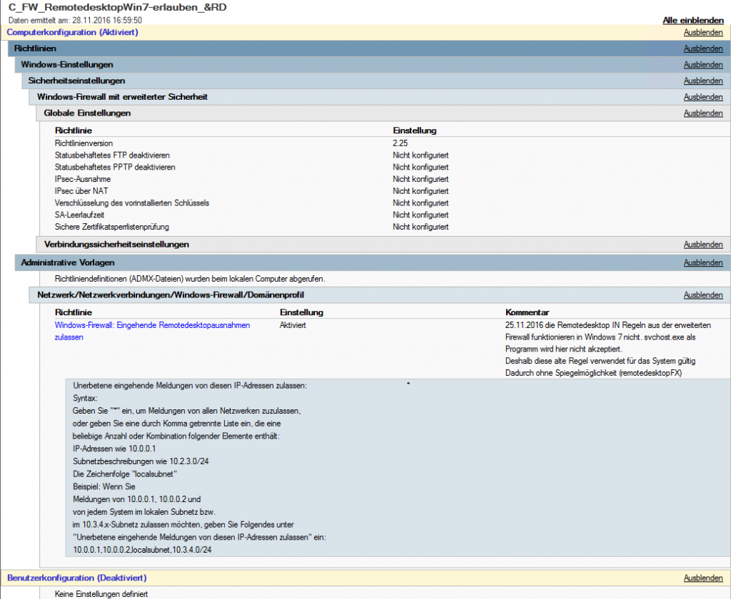 trotz Firewallregel drop für RDP incomming - Active Directory Forum ...