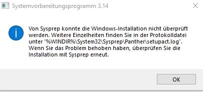 Windows 10 von sysprep konnte die Windows-installation nicht