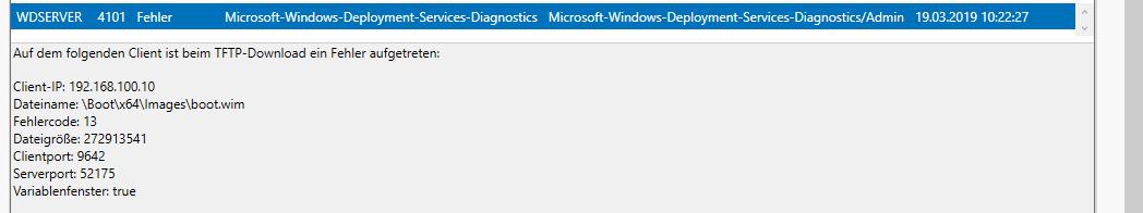 Server 2016 - WDS Client failed to start etc  - Windows